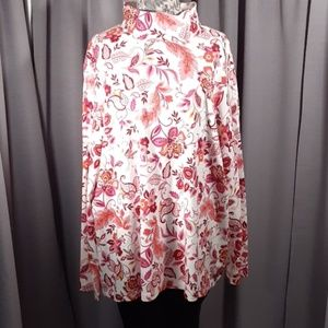 2X Floral turtle neck sweater